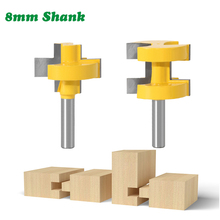 2PC/Set 8MM Shank Milling Cutter Wood Carving T-Slot Square Tooth Tenon Bit Milling Cutter Carving Router Bits For Woodworking coating taper milling cutter carving knifer for acrylic plastic processing shk12mm 30degree