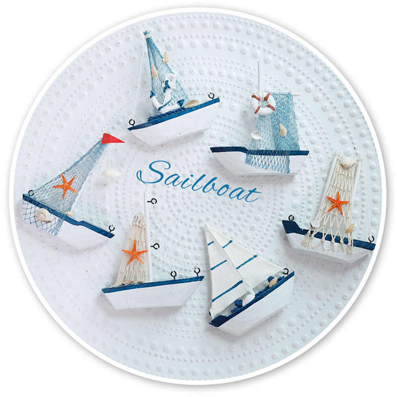 hot sale! Marine Nautical Creative Sailboat Mode Room Decor Figurines Miniatures Mediterranean Style Ship Small boat ornaments