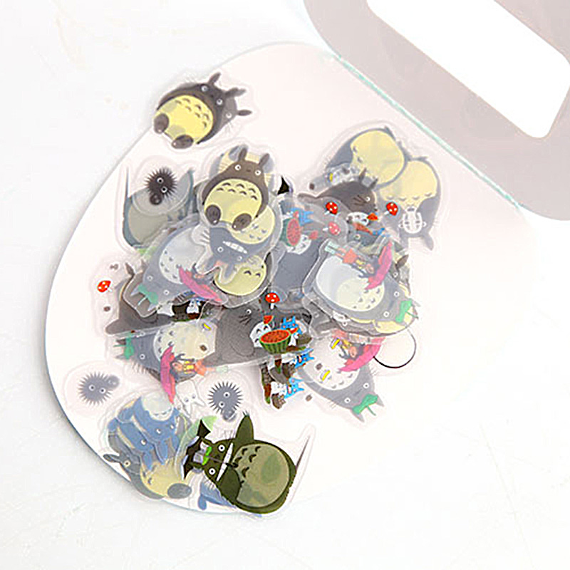 60Pcs PVC Adhesives Stickers Cute Totoro Stickers Kids Stickers For Diary Decorative Scrapbooking DIY Album Supplies Stationery