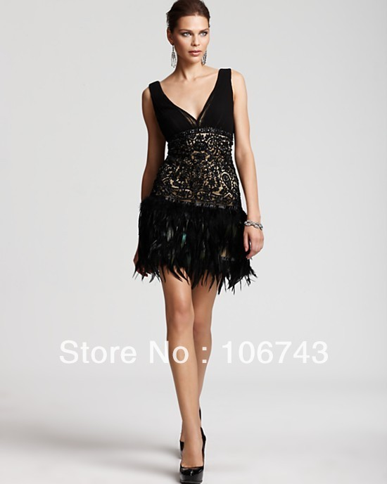 Free Shipping With Fringes 2018 New Low Back Short Lace NEW SUE WONG BEADED LACE AND FEATHER 1920'S STYLE BRIDESMAID DRESSES