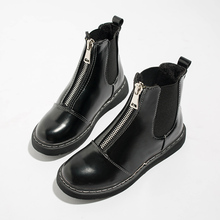 Leather Ankle Boots Women Fashion Black Soft Martin Ladies 2019 Autumn Winter Combat For