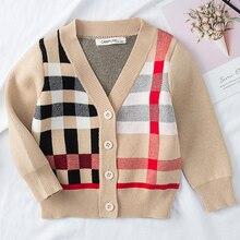 Детский свитер кардиган для мальчиков; осенний кардиган в клетку с v-образным вырезом для девочек; детская одежда; одежда для детей; флисовые куртки для малышей; топы