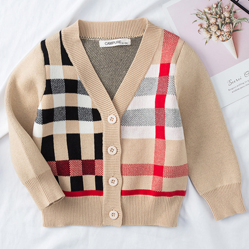 Kids Cardigan Sweater Boys Autumn Plaid Girls V-Neck Cardigan Sweaters Child Clothes Children Clothing Baby Fleeces Jackets Tops