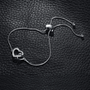 Image 2 - שני לב צמיד 925 כסף צמיד נחש שרשרת בולה צמידים לנשים כסף 925 תכשיטי ביצוע ארגונית