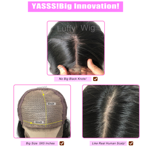 Image 5 - Short 13x4 Lace Frontal Human Hair Wigs Brazilian Remy Hair Bob 5x5 Scalp Top Wig For Women Natural Wave Black Color LUFFY