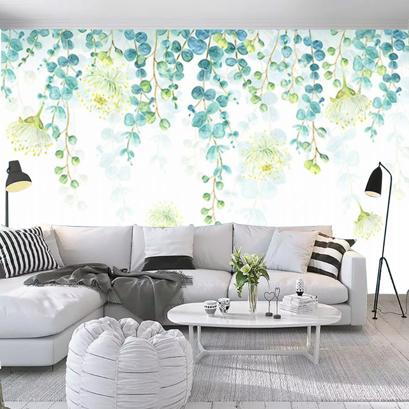 Northern European-Style Modern Fresh Green Leaves Wallpaper Mural Hipster Simple Television Sofa Background Wallpaper 3D Hand-Pa