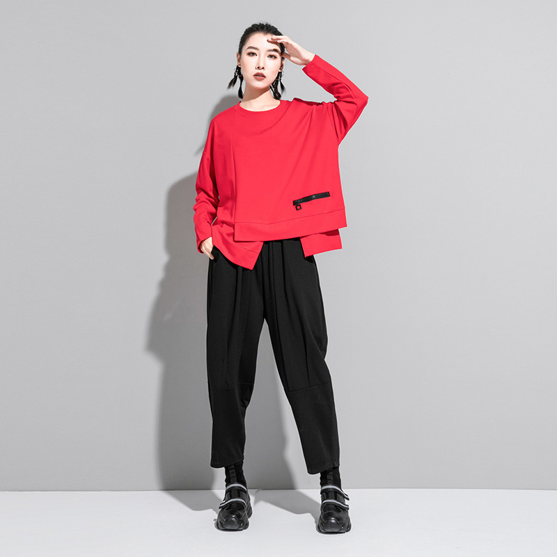 [EAM] Women Red Irregular Split Joint Big Size T-shirt New Round Neck Long Sleeve  Fashion Tide  Spring Autumn 2020 1DA605 3