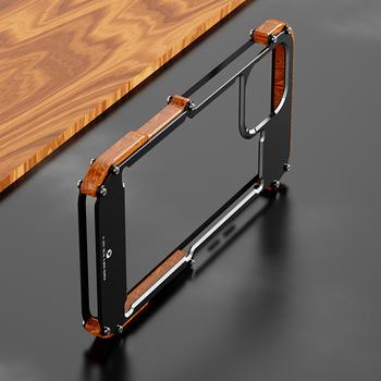 Dla iPhone 12 Pro Max 12 Mini 11 Pro S 2020X6 6s 7 8 Plus XR XS Case aluminiowy zderzak Metal i drewno odporny na wstrząsy powrót etui na telefon tanie i dobre opinie Haissky CN (pochodzenie) Bumper Luxury Metal Wood Frame Back Cover For iPhone 12 Pro Urządzenia iPhone Apple Do telefonu iPhone 6