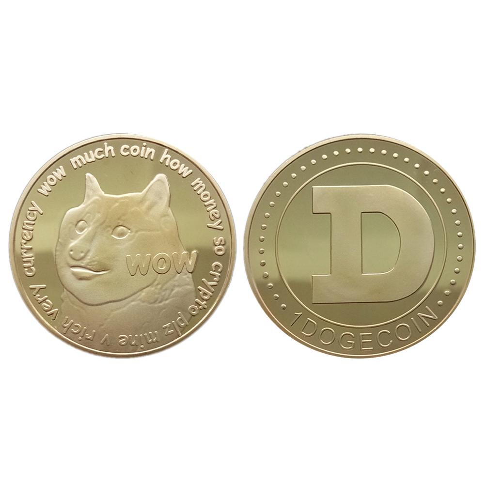 1pcs Dogecoin Commemorative Coin Dogecoin Virtual Currency Commemorative Golden Hottest DOGE Coin Art Collection Dia 38mm