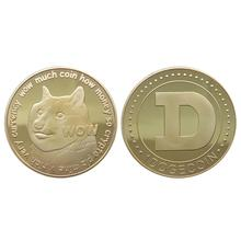 1pcs Dogecoin Commemorative Coin Virtual Currency Golden Hottest DOGE Art Collection Dia 38mm