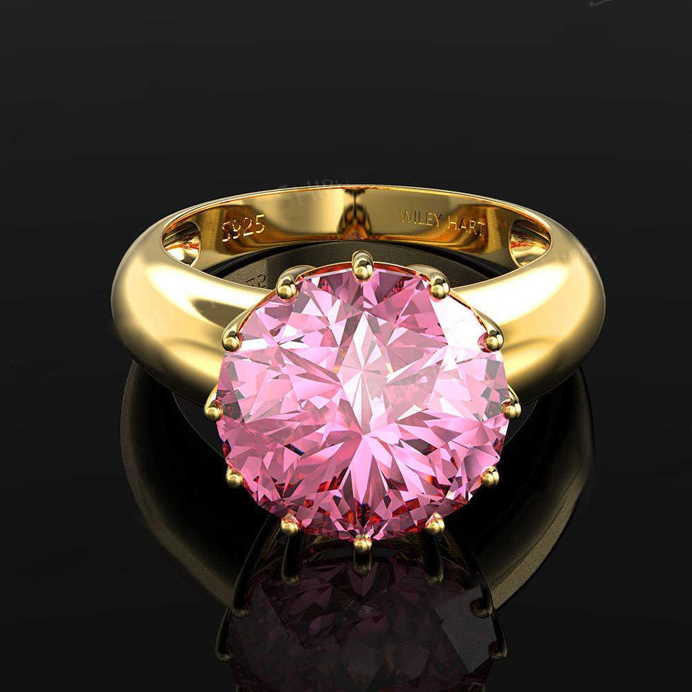 Pansysen 12 ミリメートルラウンドトップ品質の宝石ゴールドカラーの高級女性の結婚婚約指輪 925 スターリングシルバージュエリーリング