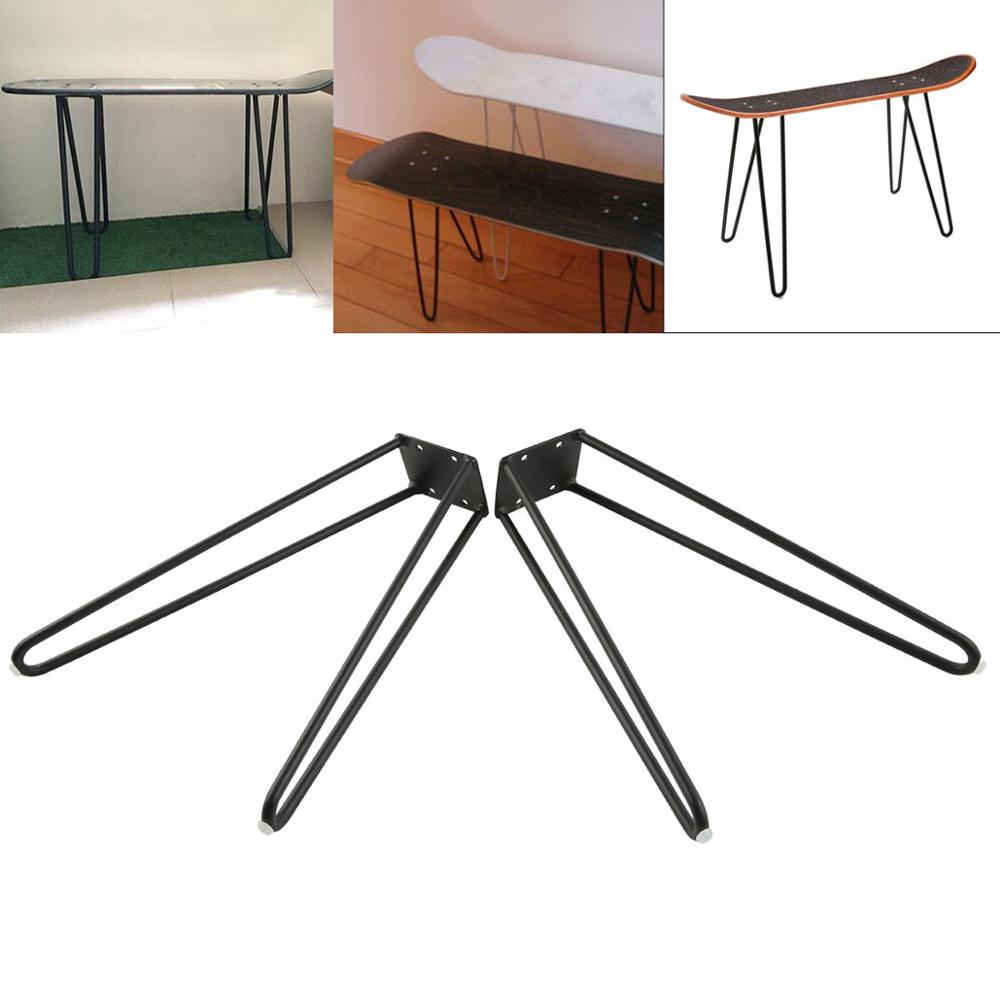 """Coffee Table Hairpin Legs 17"""" Set of Two 10mm Solid Iron Bar W/ Screw"""