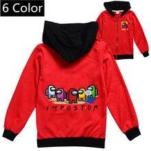 Kids Hoodies Outwear Girls Jackets Amongus Boys Children Zipper-Coat Spring Autumn Game