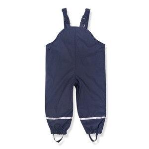 Image 4 - Brand Waterproof Polar Fleece Padded Baby Girls Boys PU Rain Pants Warm Trousers Children Outerwear Kids Outfits For 85 130cm