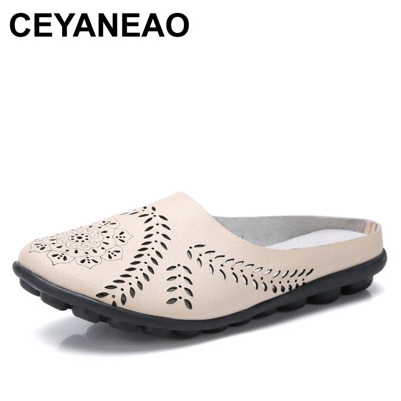 CEYANEAO Women's leather sandals Flat