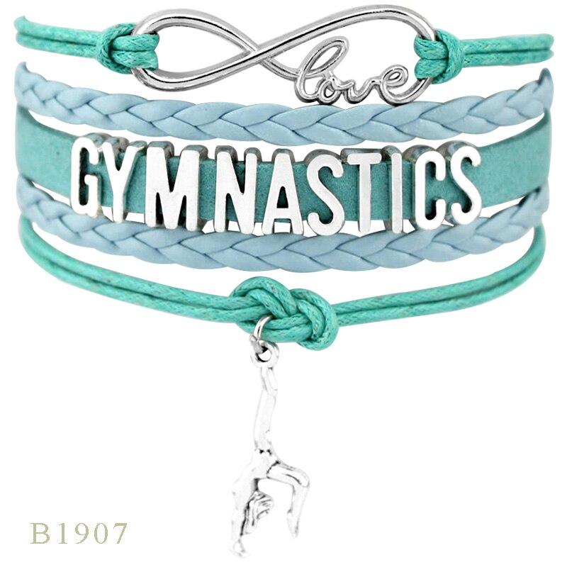 Бесконечность любовь фанаты гимнастики модные ювелирные изделия лучший подарок для гимнастки кожаные мужские браслеты для женщин