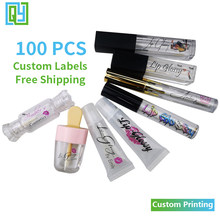 Free Shipping Custom Logo Print Lipgloss Stickers Waterproof Beauty Make Up Clear Transparent Lipstick Tube Cosmetics Labels