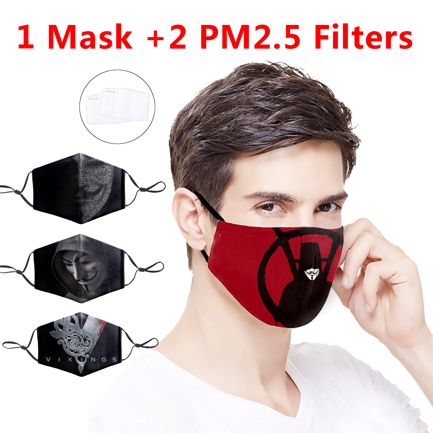 Fashion 3D V For Vendetta Face Mask Movie Face Mask Mouth PM2.5 Filter Anti Dust Dustproof Bacteria Protection Cover  Masks