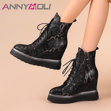 ANNYMOLI Winter Sheepskin Ankle Boots Women Real Leather Platform Wedge High Heel Short Boots Zip Round Toe Shoes Ladies Fall 42 silicone rubber watch band 22mm 24mm for jacques lemans stainless steel clasp strap wrist loop belt bracelet black spring bar
