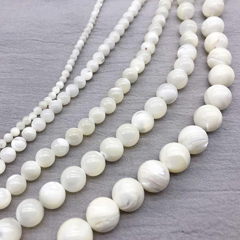 ナチュラルホワイト trochus niloticus ビーズ母の真珠淡水ジュエリーメイキングのためにルーススペーサービーズ diy ブレスレットネックレス