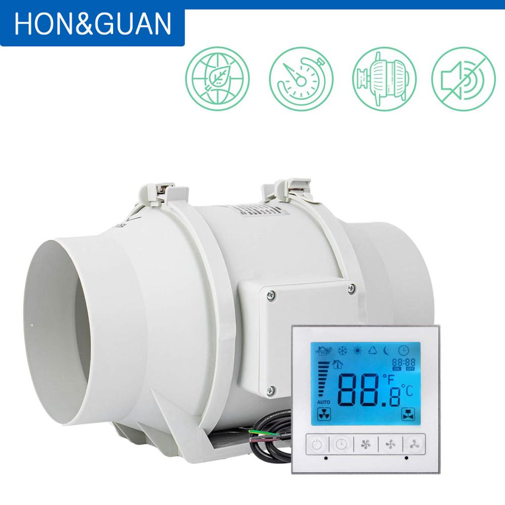 Hon&Guan 6 Inch HF-150PMZC Timer Extractor Inline Duct Fan With Smart Switch; 220~240V; Free Shipping By DHL Or UPS