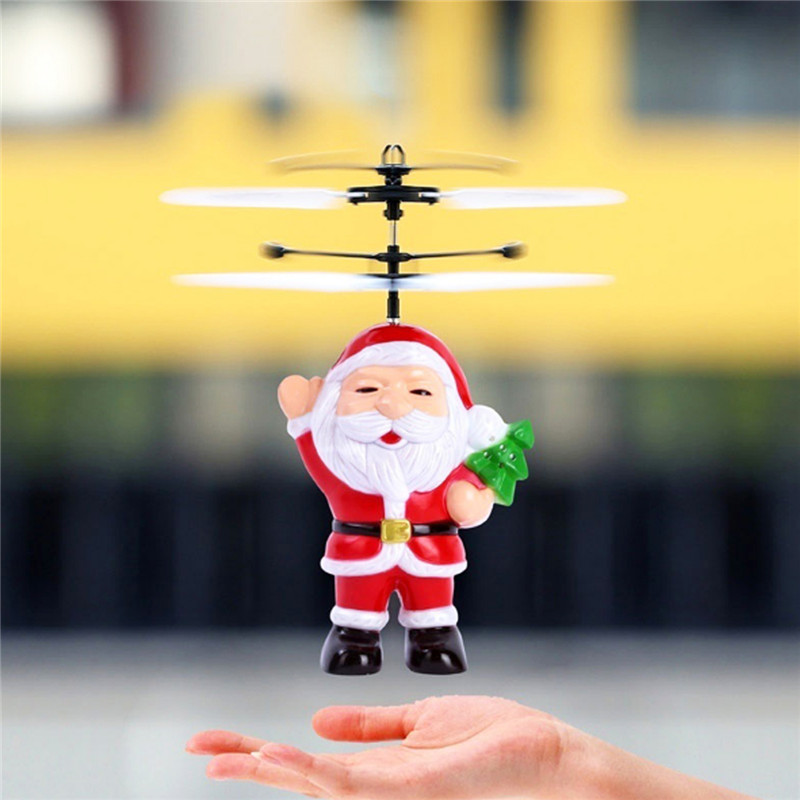 Flying Inductive Mini RC Drone Christmas Father Santa Claus RC Helicopter Gifts Magic Christmas Gift SRC Aircraft For Kids Boys