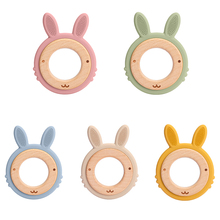 New Animal Rabbit Silicone Teether Baby Oral Care Products 1Pcs Big Teether BPA-Free Beech Wooden Rattle Teething Toys For Kids