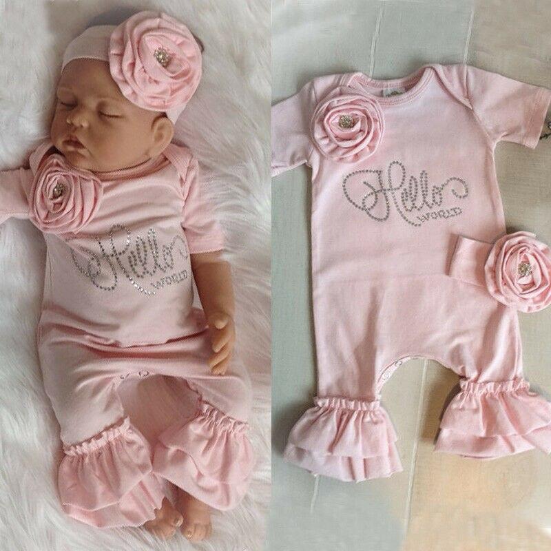 New Newborn Baby Flower Romper Girl Jumpsuit Headband Outfits Girls Clothes Set