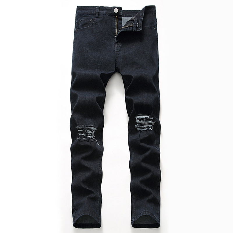 2019 Jeans Men Black Ripped Straight-Leg Trousers Occident Fashion Knee With Holes JEANS Men