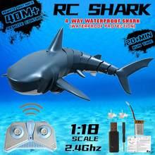 Novo 2.4g rc simulação tubarão brinquedos de controle remoto tubarão barco à prova dwaterproof água usb recarregável piscina brinquedo do banheiro tubarão 1:18