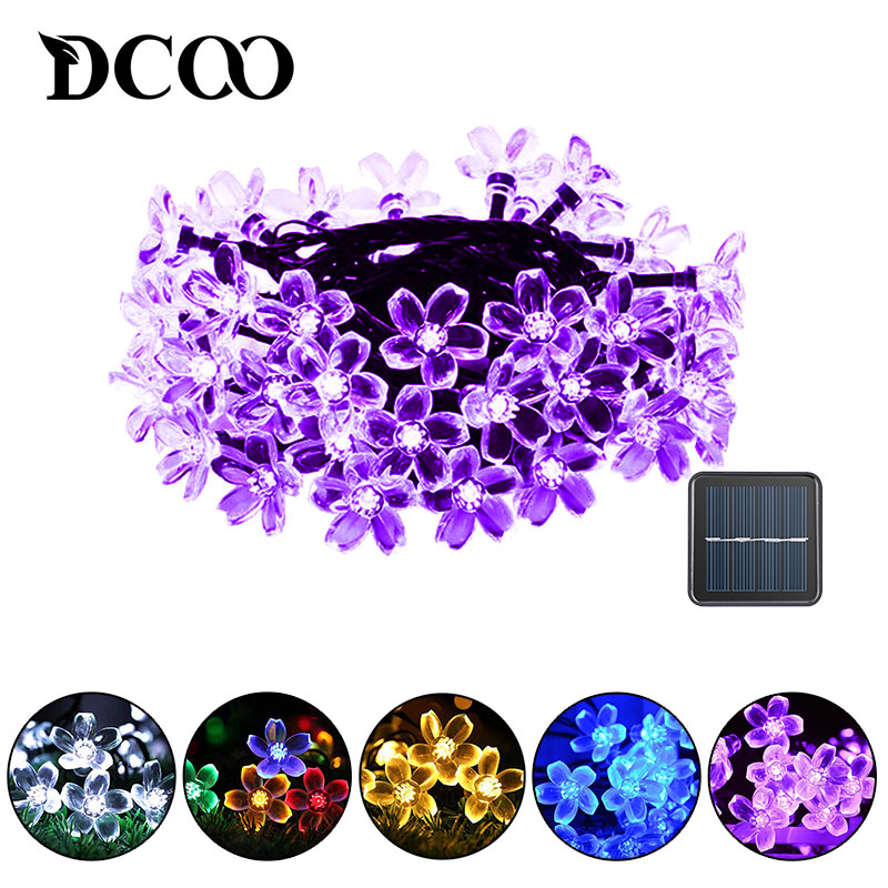 DCOO Solar String Lights 21ft 50 LED Blossom Flower Starry Fairy Lights For Garden Party Xmas Decorations Indoor And Outdoor
