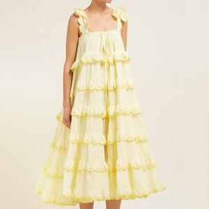 Image 4 - CHICEVER Elegant Patchwork Ruffles White Dress For Women Off Shoulder Sleeveless Oversized  Dresses Female Fashion Clothes 2020