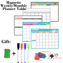 Dry Erase Sticker Whiteboard Table Fridge Weekly-Monthly-Planner Magnetic 4-Pen 297mm--420mm