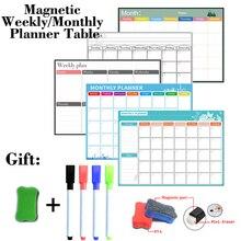 Магнитные еженедельно ежемесячно планировщик стол с функцией сухого стирания доски на холодильник наклейки доска 297ММ*420мм размер подарок 4 ручки 1 ластик
