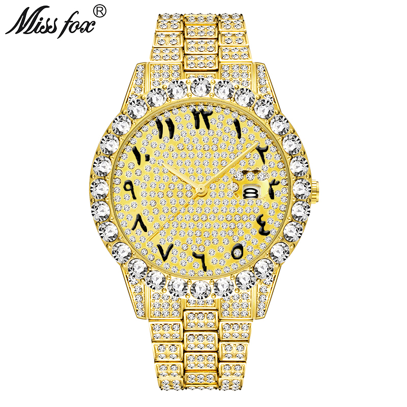MISSFOX Arabic Numerals Mens Watches Top Brand Luxury Rolexable_Watch Men 18k Gold Big Diamond Xfcs Classic Male Iced Out Watch analog watch