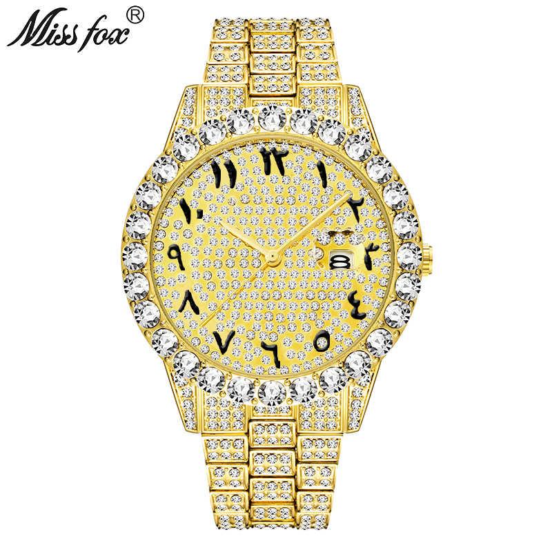 MissFox арабские цифры мужские s часы лучший бренд класса люкс rolexable_часы мужские 18 К золото большой алмаз Xfcs классические мужские часы со льдом