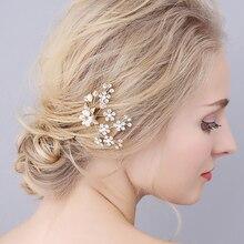 Elegant Gold Rhinestones Pearl Alloy Hair pin Banquet Feast Decoration Wedding Bridal
