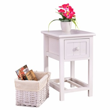 Mini 2-Layer 1 Drawer Bedroom Furniture Bedside End Table White Modern Organizer Bedroom Wooden Nightstand with Basket HW53787
