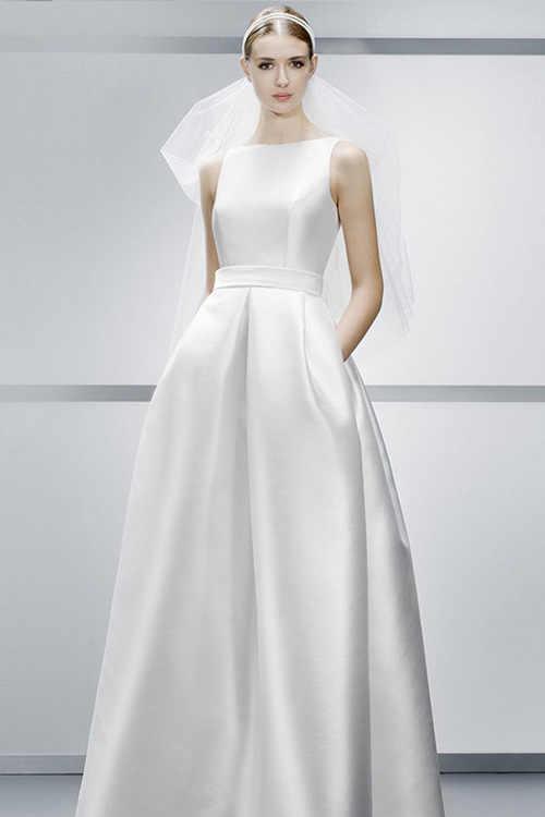 بسيطة ألف خط عارية الذراعين الراقية فستان الزفاف الحرير الحرير تظهر رقيقة مع جيب جديد الأوروبية والأمريكية أنيقة ثوب زفاف