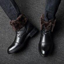 цена High Quality Men Boots Autumn Winter Natural Leather Boots Lace-Up Men Shoes Warm Plush Fur Winter Shoes Waterproof Ankle Boots онлайн в 2017 году