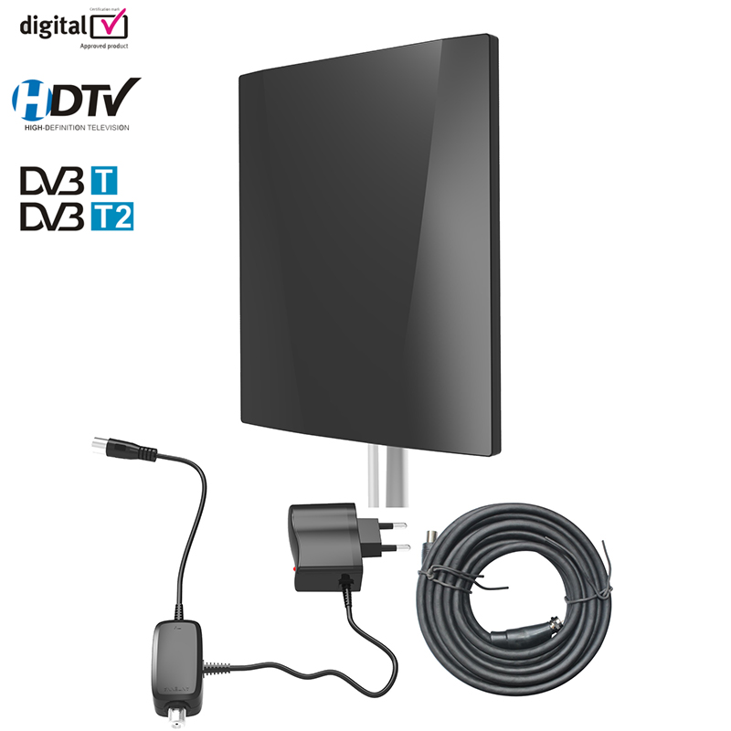 Prise en charge d'antenne TV numérique HD DVB T2 ATSC ISDBT antenne extérieure/intérieure amplificateur de Signal TV haut Gain faible bruit avec Coaxial