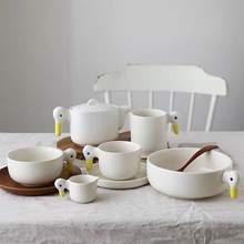 Белая утка керамические тарелки Посуда ручная работа утенок