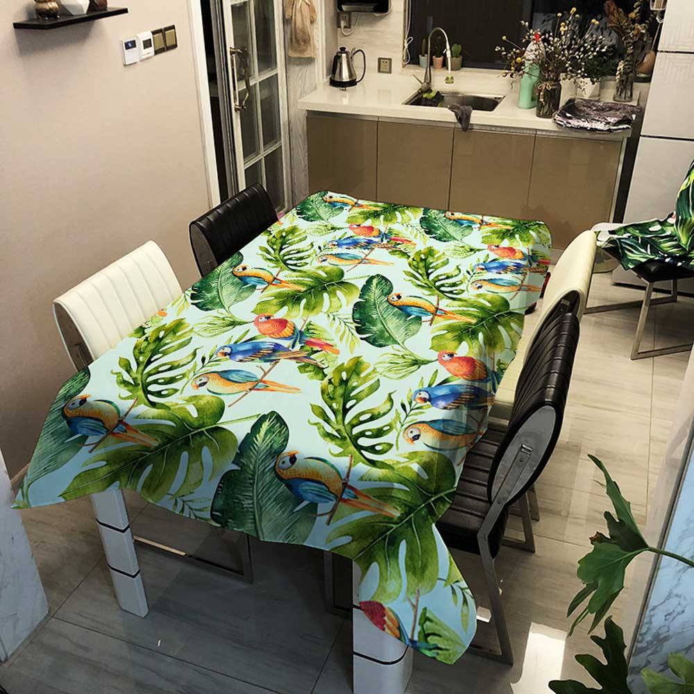 Forest Series Waterproof  Rectangular Tablecloths Green Tree Flowers and Birds Tea Coffee Tablecloth Home Decoration Table Cover