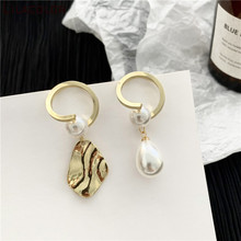 Women Asymmetric Drop Earrings Pearl Metal Dangle Earrings Alloy Fashion Korean Geometric Sweet Irregular Ear Jewelry a suit of sweet asymmetric bar cross earrings for women