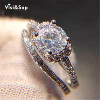 Visisap Einfache Bridal sets Weiß Gold farbe zirkonia engagement Hochzeit Geschenk Ringe Für Frauen mode Schmuck VSR167
