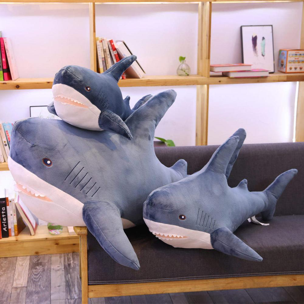 140cm Giant Big Funny Soft Bite Shark Plush Toy Stuffed Cute Animal Reading Pillow Appease Cushion Doll  Gift For Children Baby