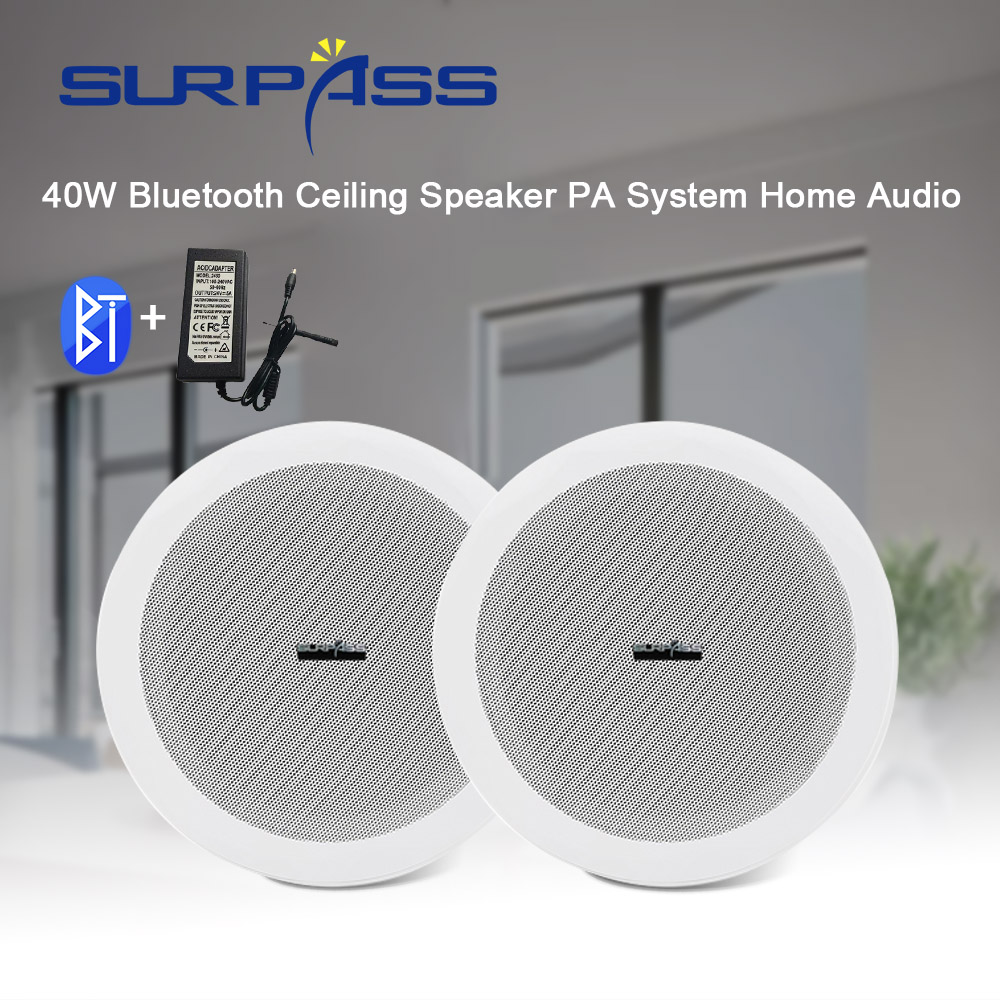 1Pair 40W Bluetooth Ceiling Speaker PA System Home Audio Theater Background Music Loundspeaker Stereo Subwoofer Music Player Aux