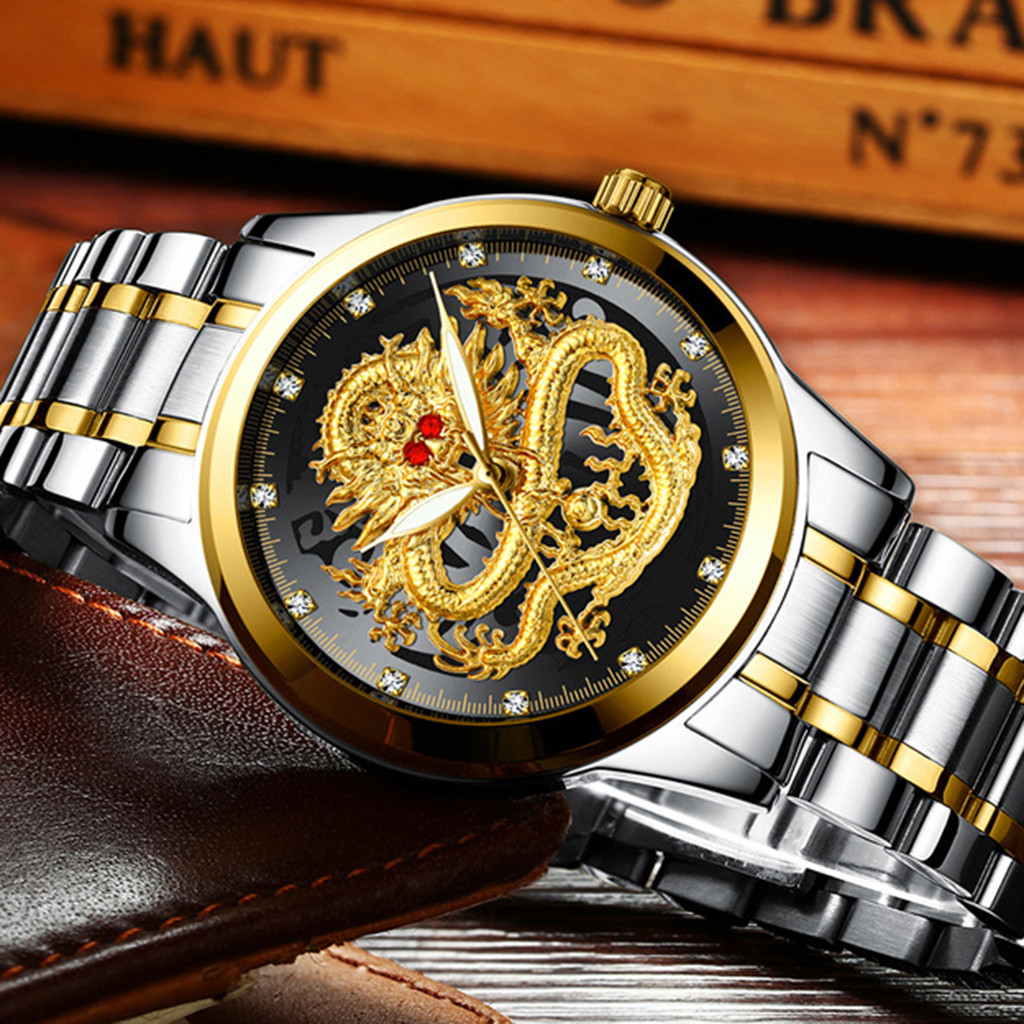 Embossed Diamond Dragon Face Watch Men's Waterproof Quartz Watches