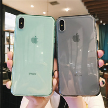 Luxury Transparent Silicone Phone Case For iPhone 6 6s 7 8 Plus Xs XR XS Max Soft TPU Clear Case For iPhone X Candy Color Cover цена и фото