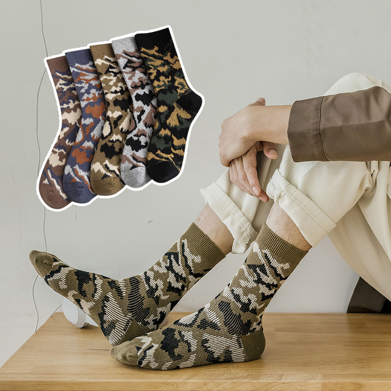 Man Socks Camouflage New Trend Men's Socks Fashion Cotton Comfortable Deodorant Crew Socks New Casual Personality Wild Socks